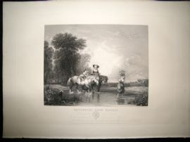 After Sir A.W Callcott C1840 LG Folio Antique Print. Returning from market. Horses